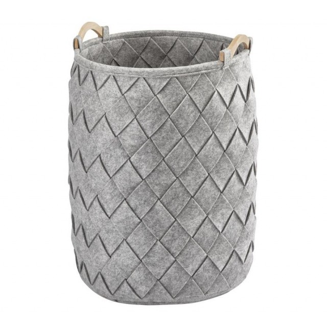 AMY LAUNDRY BASKET SILVER GREY