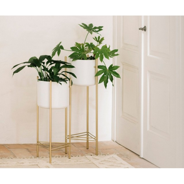 WHITE/GOLD METAL STANDING PLANTER LOW