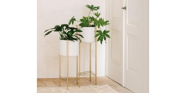 WHITE/GOLD METAL STANDING PLANTER HIGH