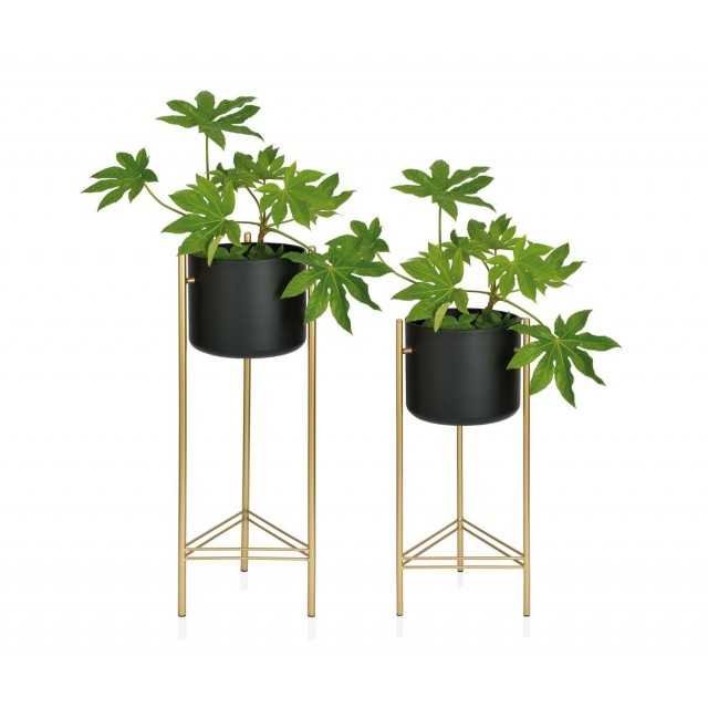 BLACK/GOLD METAL STANDING PLANTER HIGH